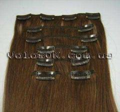 Натуральные волосы на заколках 38 см, 7 прядей,