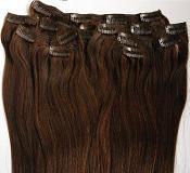 Natural hair on hairpins of 38 cm, 7 locks, dark