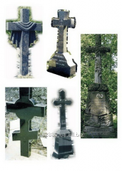 Figured granite crosses