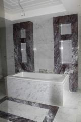 Facing by marble, granite, bathroom onyx