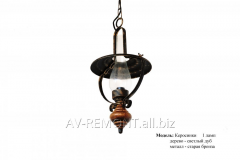 """Suspension 1 lamp forged """"Paraffin stoves"""