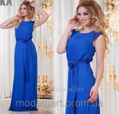 Женское платье с карманами длинное с гипюровыми