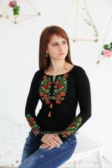 Embroidered Women's T-Shirt Vintage ornament ID B-1