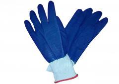 Перчатки ребро резиновые синие, черные