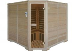 Five-seater angular infrared sauna with carbonic
