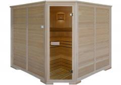 Five-seater angular Finnish sauna with an
