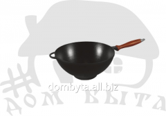 WOK pan with the wooden handle (V=1.7l mm h=90 mm