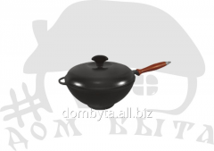 WOK pan with the wooden handle and a cover (V=3.5l