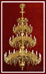 The church chandelier is three-storied