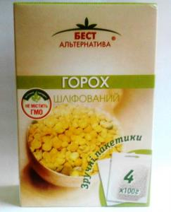 Peas portion, packaging 4*100g 1 grades