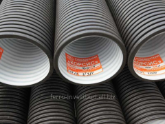 Dvukhsloyny corrugated sewer pipe for the