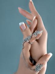 Кольцо на весь палец. Два кольца с цепочкой