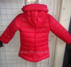 Детские куртки для девочек 116-140 красная, код