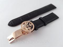 Ремешок к часам Patek philippe черный, кожаный, с