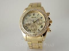 Женские часы ROLEX - циферблат в кристаллах, цвет