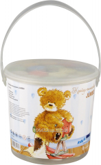 Swept color round Jumbo Popcorn Bear in a plastic