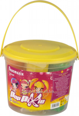 Plasticine of soft 7 flowers in a plastic bucket