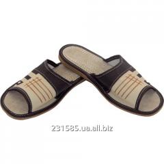 Польские открытые кожаные тапочки шлепанцы