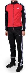 Спортивный костюм Adidas штаны черные мастерка красная