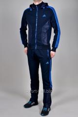 Спортивный костюм Adidas Predator синий с голубыми полосами мужской