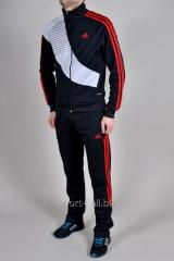 Спортивный костюм мужской  Adidas Predator черный с красными полосами