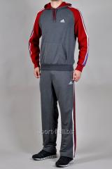 Спортивный костюм Adidas серый с красными рукавами