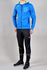 Спортивный костюм Adidas черные зауженные штаны и голубая мастерка