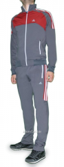 Спортивный костюм Adidas серый с красным