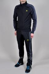 Спортивный костюм Adidas мужской черный с серыми полосами