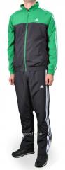 Спортивный костюм мужской черный с зеленым Adidas