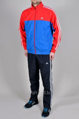 Спортивный костюм Adidas штаны черные с голубо-красной мастеркой