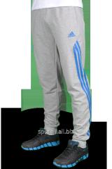 Брюки спортивные Adidas серые с синими полосами