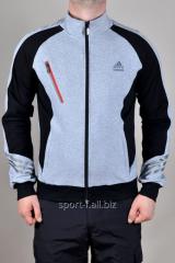 Мастерка мужская серо-черная короткая Adidas