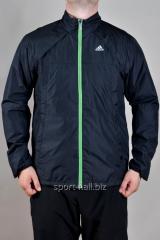 Ветровка мужская черна зеленая молния  Adidas