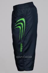Бриджи Adidas серые с зелеными полосами