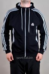 Мастерка Adidas черная с белыми полосами