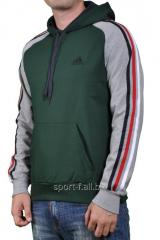 Мастерка зеленая с серыми рукавами мужская Adidas
