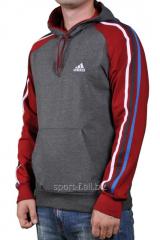 Мастерка Adidas серая с красными рукавами