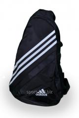 Сумка спортивная Adidas черная с белыми полосами