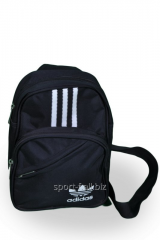 Black sports bag with white strips of Adidas