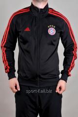 Мастерка Adidas Bayern München мужская черная с красными полосами