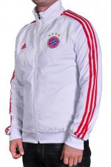Мастерка Adidas Bayern München мужская  белая с красными полосами