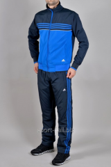 Зимний спортивный костюм Adidas синий с голубыми полосами