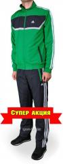 Зимний спортивный костюм Adidas штаны серые мастерка зеленая