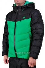 Куртка мужская зима  Nike черная с зеленым