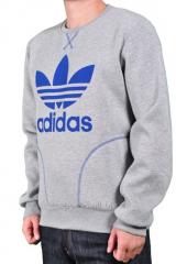 Спортивная кофта Adidas зимняя серая с логотипом