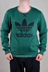 Спортивная кофта Adidas зимняя зеленая с логотипом
