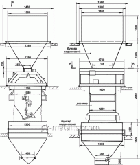 Дозатор весовой автоматический ДН-2000- 4Т с надвесовым и подвесовым бункером