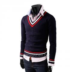 Мужской пуловер с V-образным вырезом, свитер