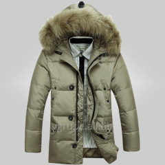 Man's down-padded coat with a fur hood / a